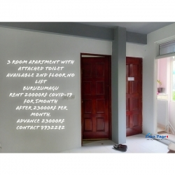 3 room apartment with attached toilets for rent